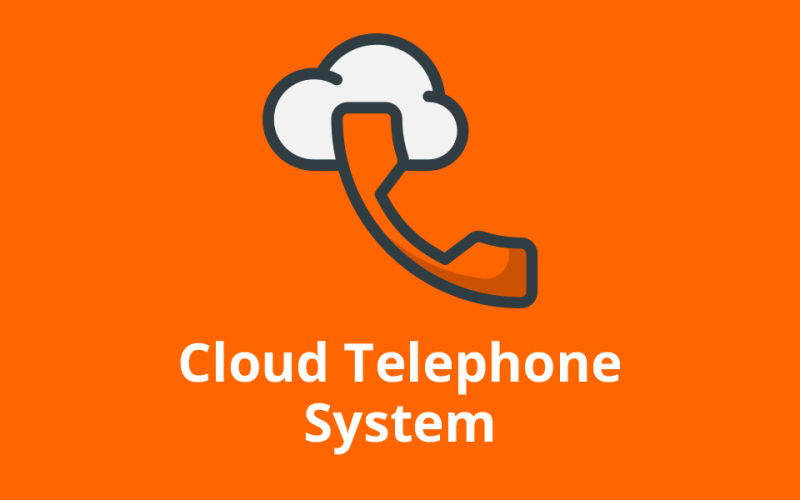 icon with telephone in cloud and text that reads cloud telephone system