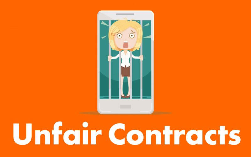 cartoon picture of woman behind bars of mobile phone with text that reads unfair contracts