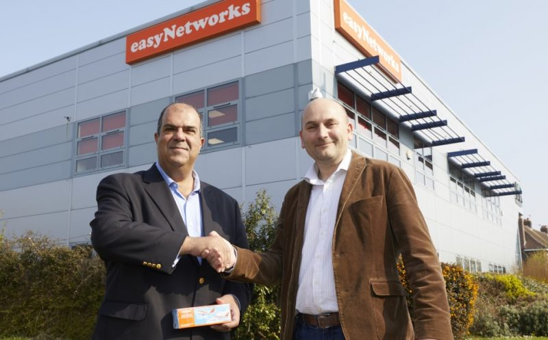 Stelios Haji-Ioannou and Richard Gwilliam at the easyNetworks office in Portsmouth
