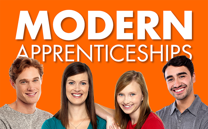 picture of 4 young smiling people with text that reads modern apprenticeships