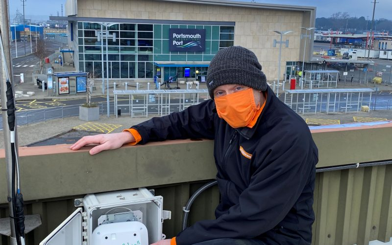 easyNetworks engineer performing WiFi maintenance at Portsmouth Ferry port